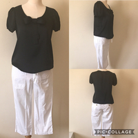 Esprit Ribbon Black Blouse + Old Navy White 3/4 Pants. Used But In Perfect Condition. Both Fits Size Small. Check Pics For Individual Sizing.