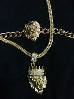 Golden lion bracelet and necklace