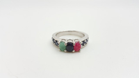 Silver Ring With Emerald , Ruby And Sapphire