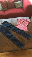 "Girls 28"" high waist jeans & small top"