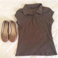 Massimo Dutti Brown Shirt Blouse Size S & Wittner Tan Leather Shoes Size EU35. Used. Good Brands.