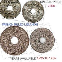 Used FRENCH RULED LEBANON HOLED COIN in Dubai, UAE