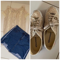 Used Sneakers and top/skirts outfit  in Dubai, UAE