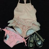 Swimwear And Leopard Print Shoes. Brand New With Tags. Gymboree Peach Ballerina Swimsuit (6-12mths), Cotton On Kids Bikini Bottom (6-12mths), Cotton On Kids Leopard Print Ballerinas Shoe (size1)