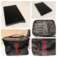 Cosmetic bag & card pop up holder