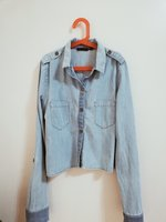 Used Topshop cropped denim shirt size 6 in Dubai, UAE