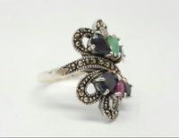 Used Silver Ring With Ruby,emerald And Sapphire.  in Dubai, UAE