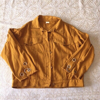 Used Oversized mustard denim jacket (size S) in Dubai, UAE