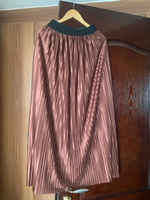 Used Pleated maxi skirt fits up to L brown  in Dubai, UAE