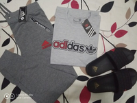 Used Adidas T-shirt,Trouser &Slipper -Large in Dubai, UAE
