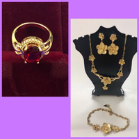 Used Floral Design Jewelry Set/ Ruby Ring in Dubai, UAE