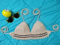 Used Crochet Duo Brown Bikini Top in Dubai, UAE