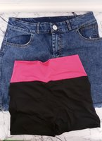 Women's jeans skirt and gym shorts | S