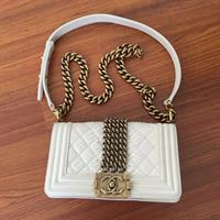 Used Chanel Boy Phyton Limited Edition Offwhite Chain Vintage Goldhardware in Dubai, UAE