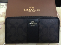 Authentic Coach Monogram Zip Around Wallet. Never Used. With Box And Card And Dustbag. Very Clean Inside Out. Price Is Fixed.