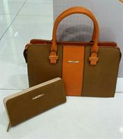 DUAL TONE HANDBAG  WALLET  SET