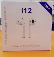 Used I12 wireless Earphone sealed White +Case in Dubai, UAE