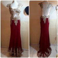 Used Evening long gown gold red.. in Dubai, UAE