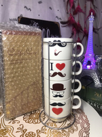 Used Love Mustache Coffee Cup Set with Holder in Dubai, UAE