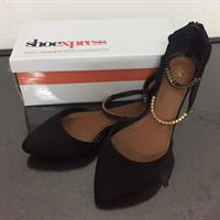 Black Shoes With Gold Strap