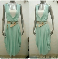 Dress Knee-length Green Color With Belt