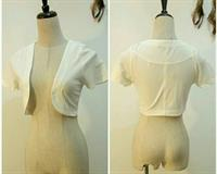 Cardigan White Color Short Sleeve Casual