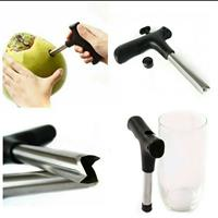 Useful Coconut Opener Opening Driller Cut Knife Hole Tools +Cleaning Stick Stainless Steel