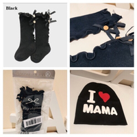 Used Girls long socks size 5-8 + I❤️Mama hat in Dubai, UAE