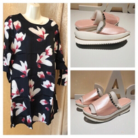 Floral top size L plus pink slippers 40