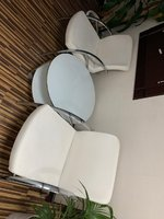 Used Teapoy with 2 white chairs in Dubai, UAE