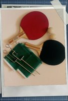 Used Table tennis rackets, ball (x2) with net in Dubai, UAE