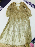 Ladies gown party wedding wear nude gold