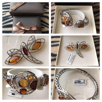 "Amber ""APART"" Bracelet And Dragonfly brooch"