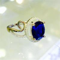 Ring For Ladies Italian Silver 925 Blue Saphire Stone