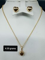 18k gold chain pendant and earrings