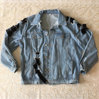 Used Denim jacket with velvet laces (size L) in Dubai, UAE