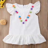 Used Toddler girl pompom dress 9-12 month  in Dubai, UAE