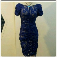 Used Brand New blue lace Dress in Dubai, UAE