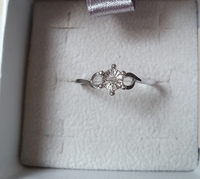 Real diamond, silver solitaire ring