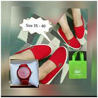 Red Slip-On Lacoste Shoes With Red Lacoste Watch