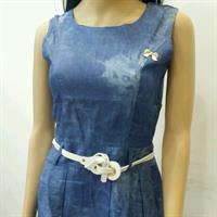 Brand new designer denim midi with embroidery at the bottom