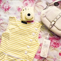 Used ; White & Yellow Striped Dress in Dubai, UAE