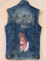Used Denim Vest Hand Painted in Dubai, UAE