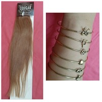 Used Clip in remy hair and stacker bracelets in Dubai, UAE