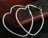 Used Heart Hoop Earrings Silver Plated New  in Dubai, UAE