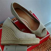 Used Coach Leather/Canvas Wedges, Beige With Golden Shimmer in Dubai, UAE