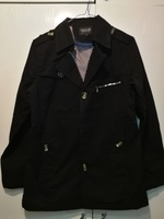 Used New black jeans men jacket size L in Dubai, UAE
