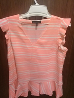 White and pink striped top