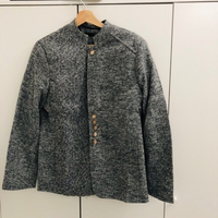 3XL unisex grey jacket with gold buttons