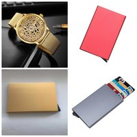 Used 3 anti theft wallet + golden watch in Dubai, UAE
